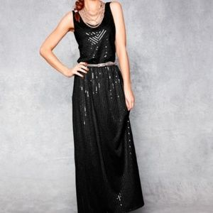 Garnet Hill Sequin Dress Maxi M DARK GREY